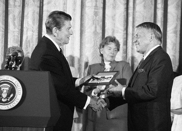 Reagan Awarding Medal To Sinatra