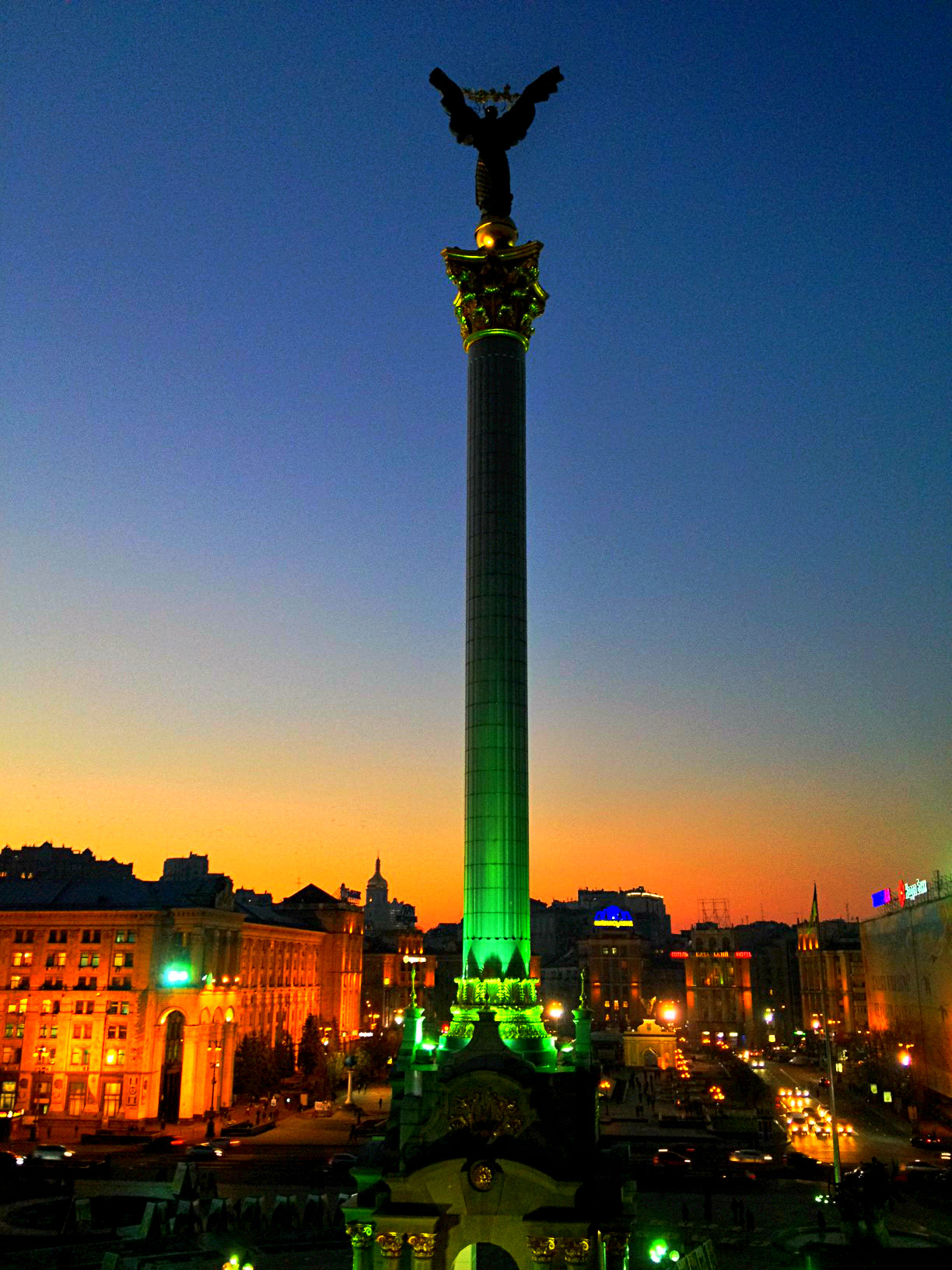 Centre of Maidan Square - Independency Column topped with a statue of Archangel Mikhail