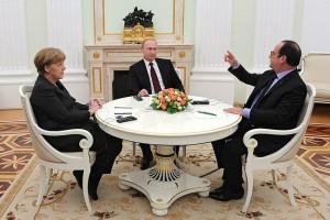 Merkel, Putin and Hollande in negotiations