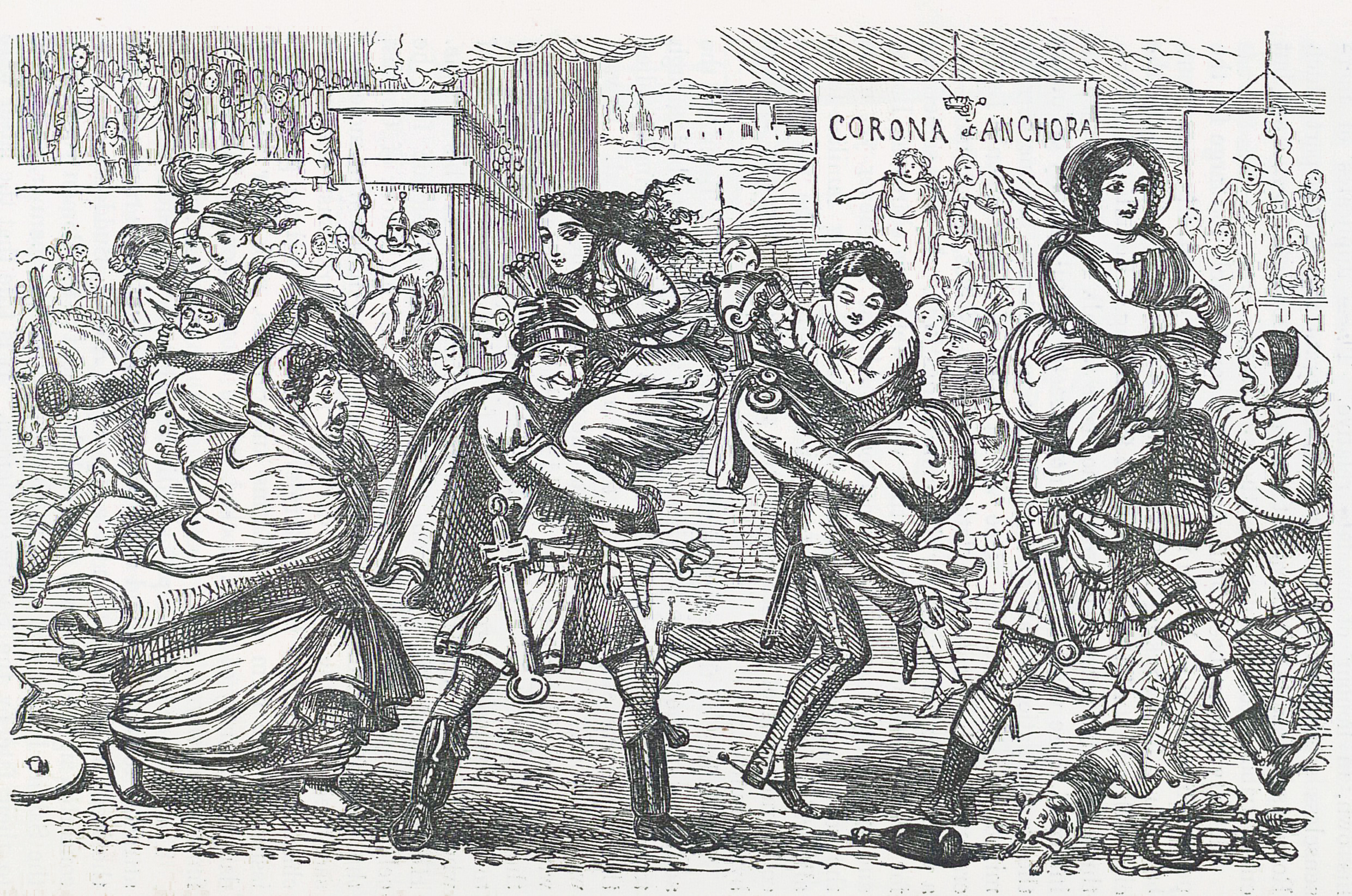 Comic_History_of_Rome_p_010_The_Romans_walking_off_with_the_Sabine_Women