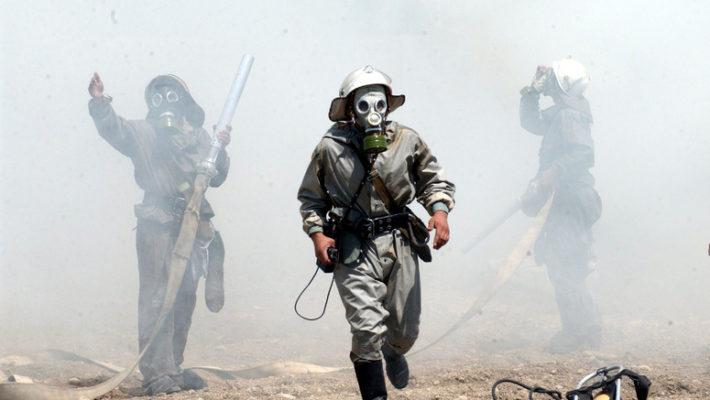 """b030427bi Exercise """"Ferghana 2003"""" held in the Ferghana Region of Uzbekistan, 27th - 30th April 2003. Exercise scenario Site 2 - industrial location, chemical leakage risk."""