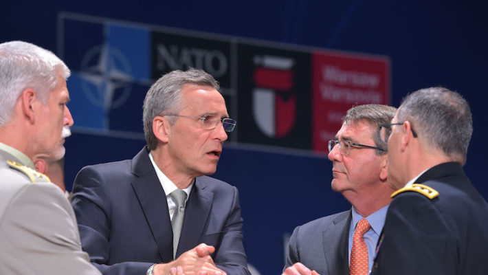Petr Pavel (Chairman of the NATO Military Committee), NATO Secretary General Jens Stoltenberg, Ashton Carter (US Secretary of Defense) and General Curtis Scaparrotti (Supreme Allied Commander Europe)